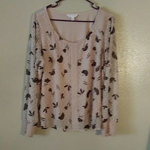 LC Lauren Conrad large blouse tan and brown